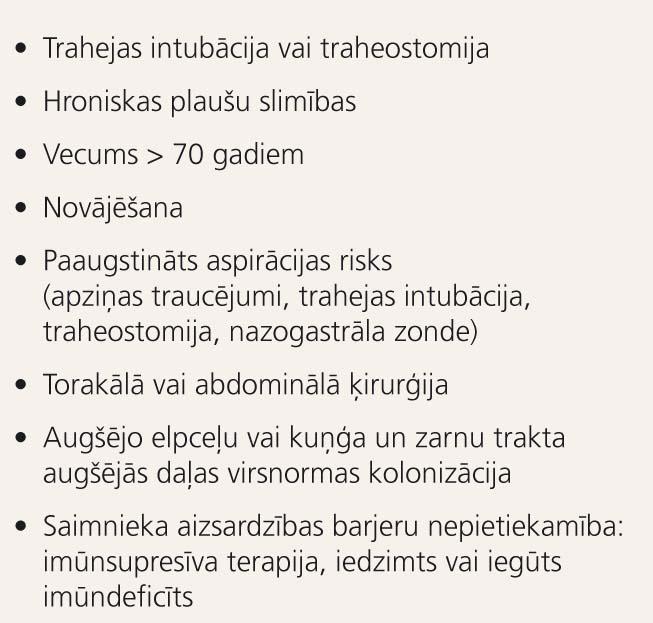Hospitālī iegūtas pneimonijas  riska faktori