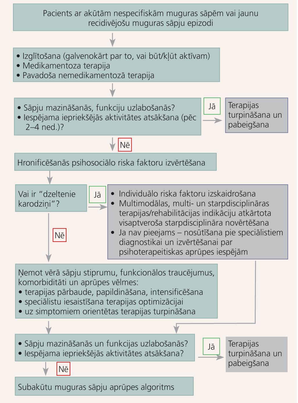 Akūtu nespecifisku muguras sāpju diagnostika un terapija (2–5 nedēļas pēc pirmās konsultācijas)