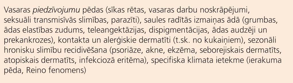 Potenciāli aktuālās dermatoloģiskās problēmas  rudens periodā