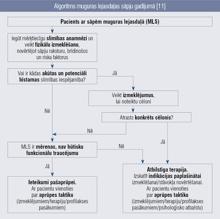 Algoritms muguras lejasdaļas sāpju gadījumā [11]