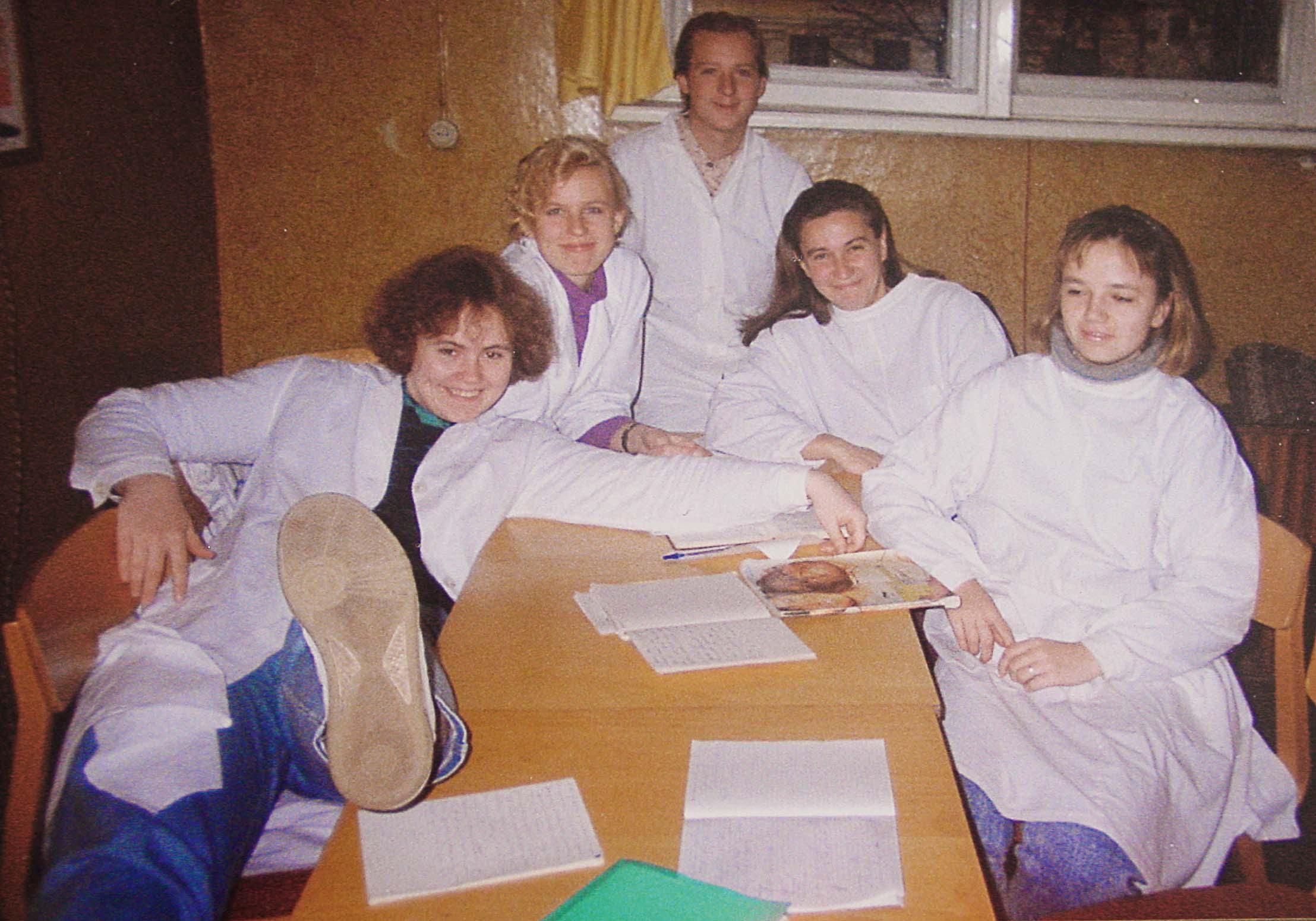 Ceturtajā kursā ar grupas biedrēm, 1994. gads
